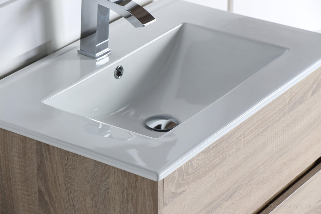 "Anton 28"", Naos Modern Cambridge Oak Vanity with Ceramic Top"