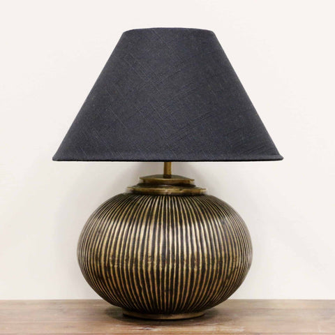 Handmade Brass Ball Lamp with Narrow Ridges in Dark Brass Antique Finish