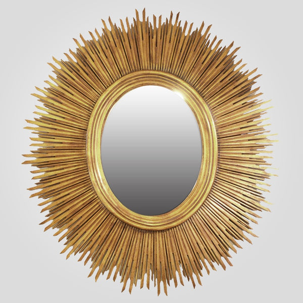 Oval Sun Mirror in Gold Leaf Finish