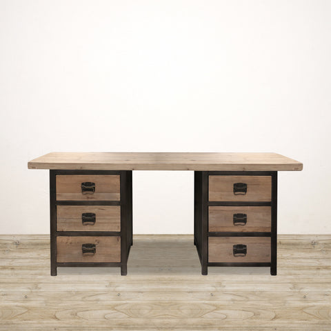 Devon Desk in Recycled Pine and Steel