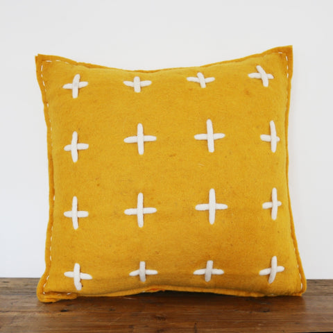 Handmade Merino Stitch Cushion in Mustard