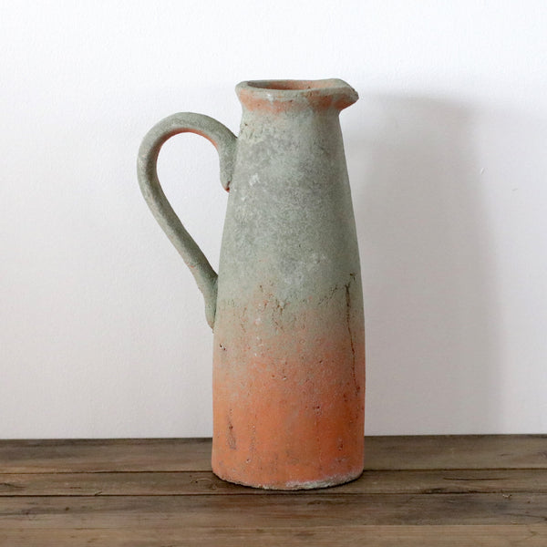 Handmade Organic Terracotta Jug with Mossy Detail