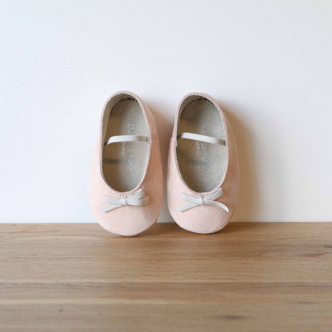 Baby Ballerinas in Pink Suede Leather