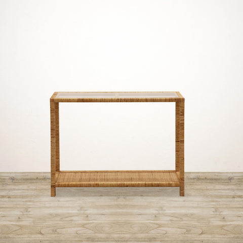 Cane Console Table with Glass Top