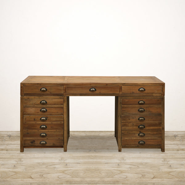 Desk in Old Recycled Pine with 9 Drawers
