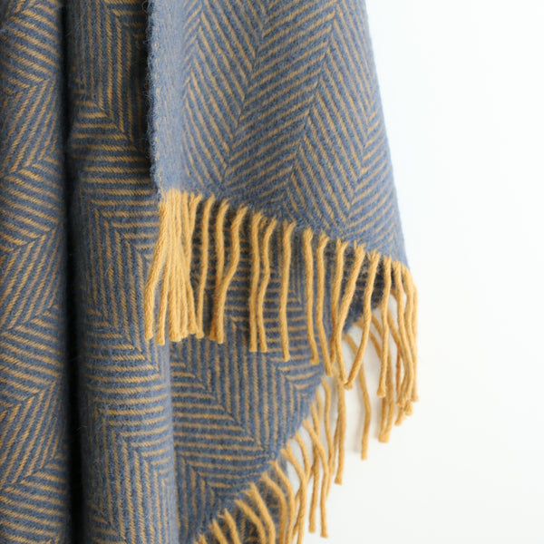 Wool Herringbone Throw in Navy and Mustard