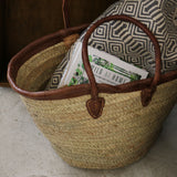 Moroccan Woven Shopping Basket with Brown Leather Trim