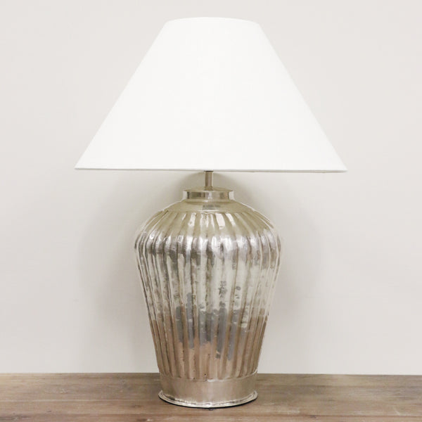 Handmade Urn Lamp with Wide Ridges in Antique Silver Finish