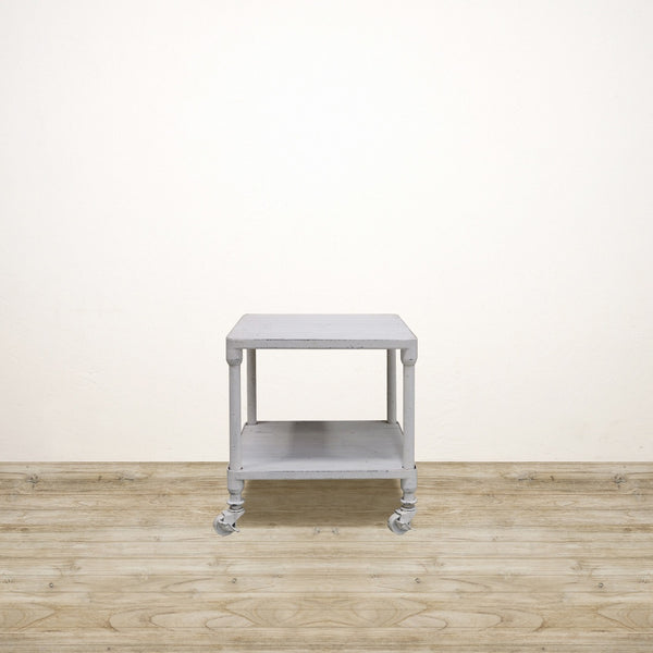 Industrial Square Side Table with Shelf in White Wash