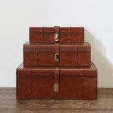 Tan Leather Box with Stitch Detail - Small