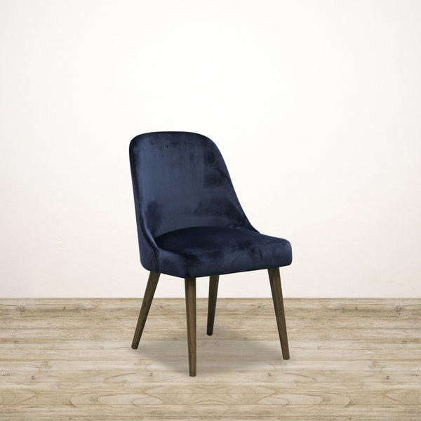 Sam Dining Chair Blue Velvet with Walnut Leg
