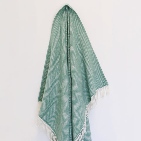 Wool Throw in Sea Green