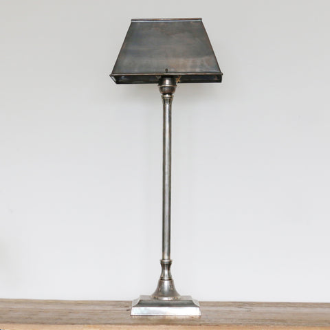 Brushed Pewter Finish Brass Table Lamp and Shade