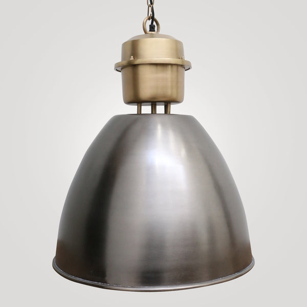 Industrial Brass and Pewter Styled Hanging Lamp