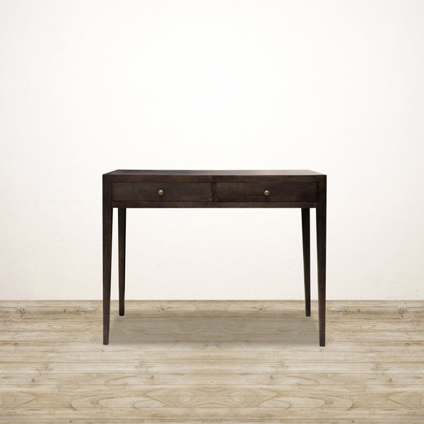 Oak Console with 2 Drawers in Charcoal Finish
