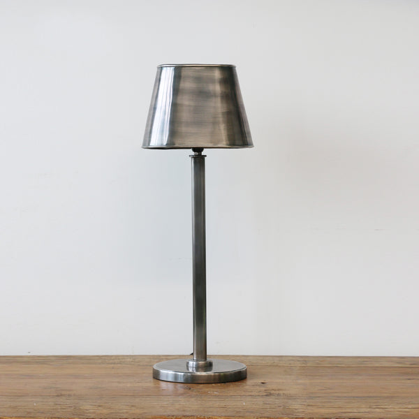 Lamp with Oval Shade in Pewter Style Finish