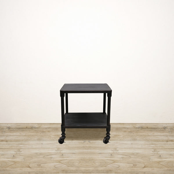 Industrial Square Side Table with Shelf in Matte Black