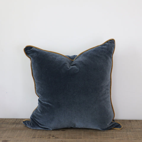 Indigo Blue Velvet Cushion Cover with Gold Piping
