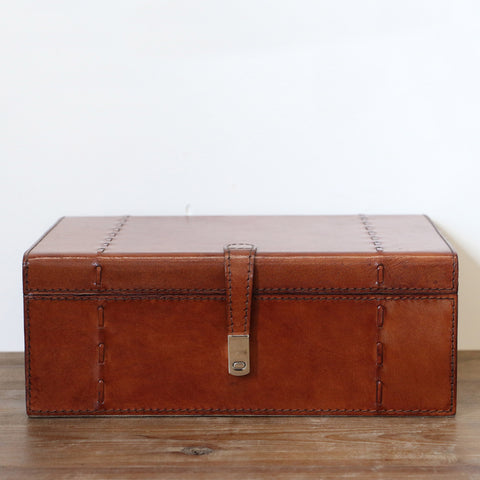 Tan Leather Box with Stitch Detail Large