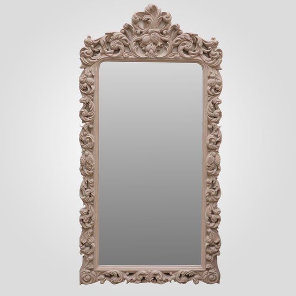Provincial Ornate Carved Mirror in Taupe