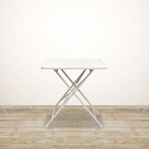 Metal Square Dining Table in White