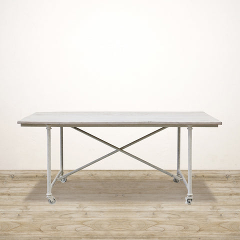 White Washed Industrial Dining Table on Castors