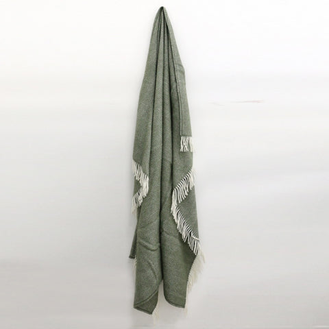 Wool Throw in Olive Green - DUE END OF MAY