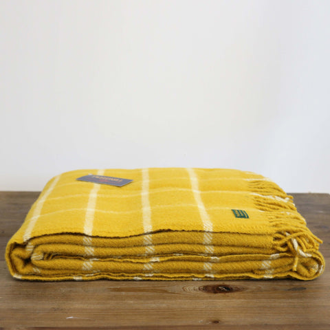 Wool Throw in Yellow Mustard Check - Due end of may