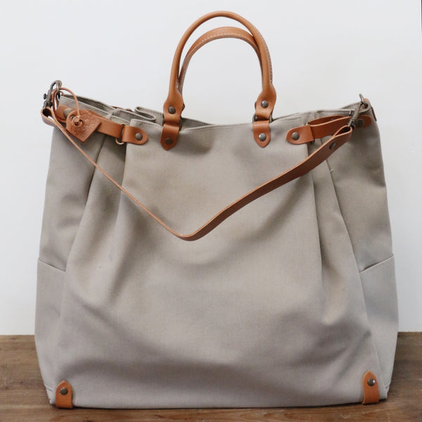 French Leather Folk Overnight Bag in Taupe