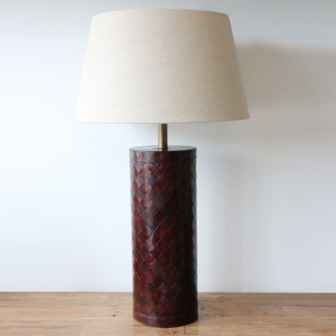 Woven Dark Brown  Leather Lamp