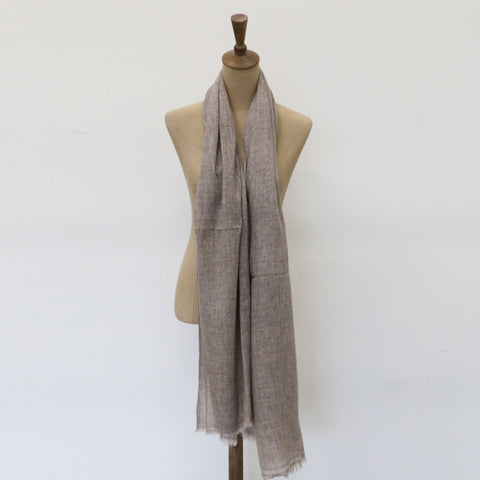 Cashmere and Wool Scarf in Dark Beige