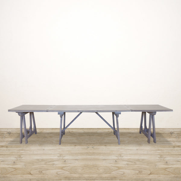 Loire Trestle Extension Dining Table in White Wash