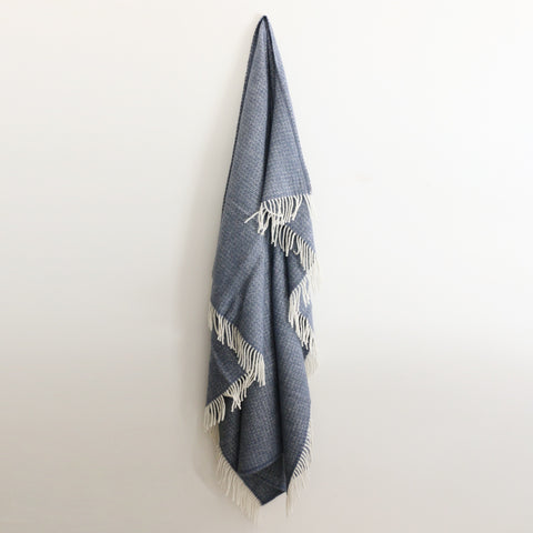 Wool Illusions Throw in Blue Slate