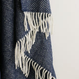 Wool Herringbone Striped Throw in Navy