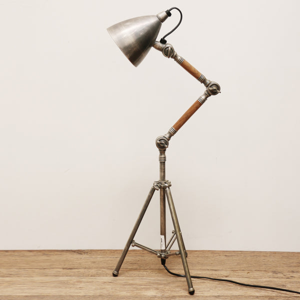 Brass Desk Lamp in Pewter and Timber FInish