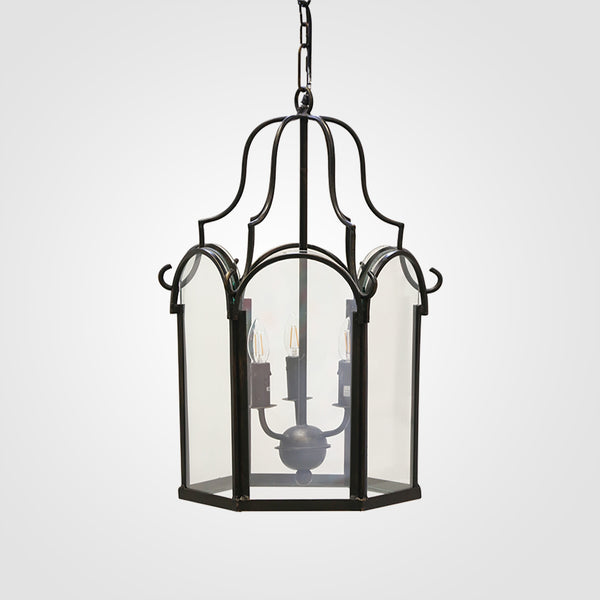 Saville Hanging Lantern in Antique Black Finish