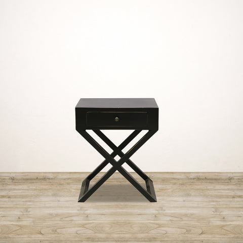 Bedside Table with Cross Legs in Black