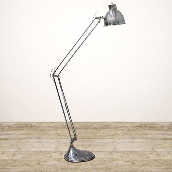 Solid Brass Floor Lamp in Brushed Pewter Finish