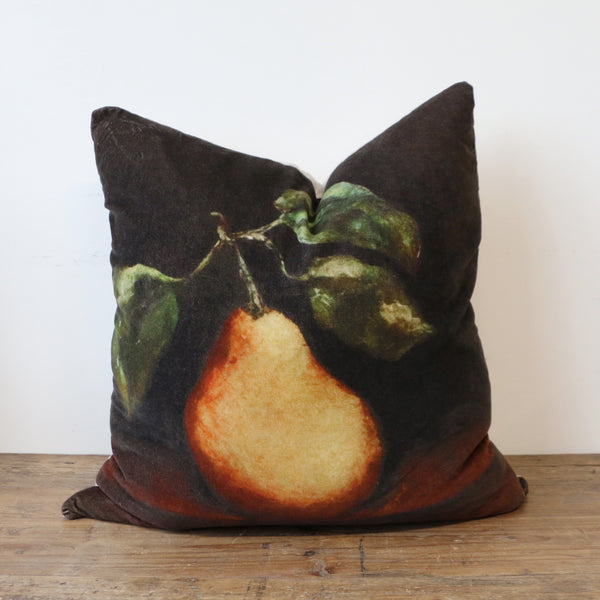 Raphael Vintaged Velvet Cushion with Linen Back - Une Poire