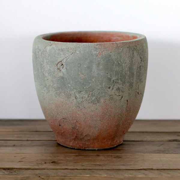 Handmade Organic Terracotta Pot with Mossy Detail - Large