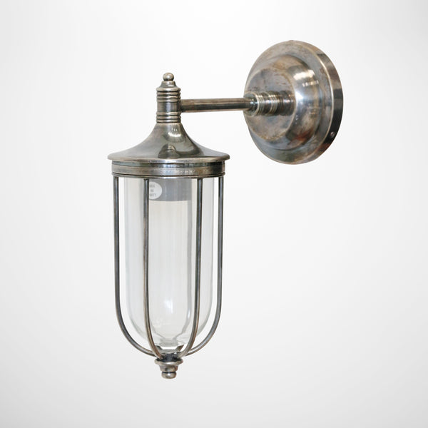 Outdoor Narrow Cage Wall Light in Brass with Pewter Finish