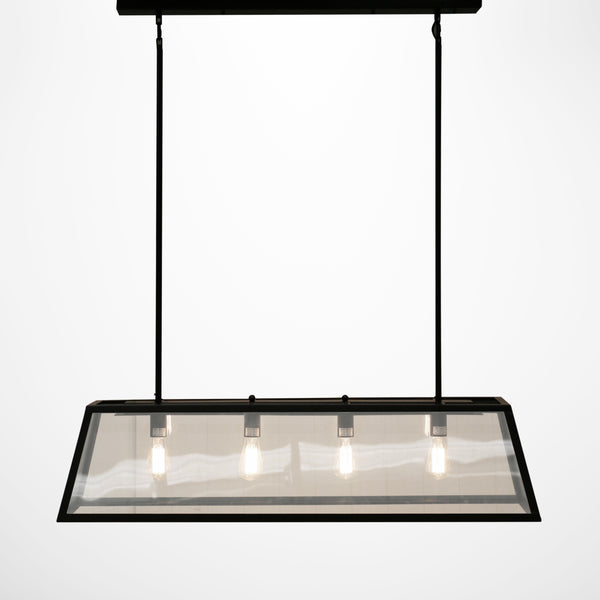 Black Glass Trapeze Hanging Light
