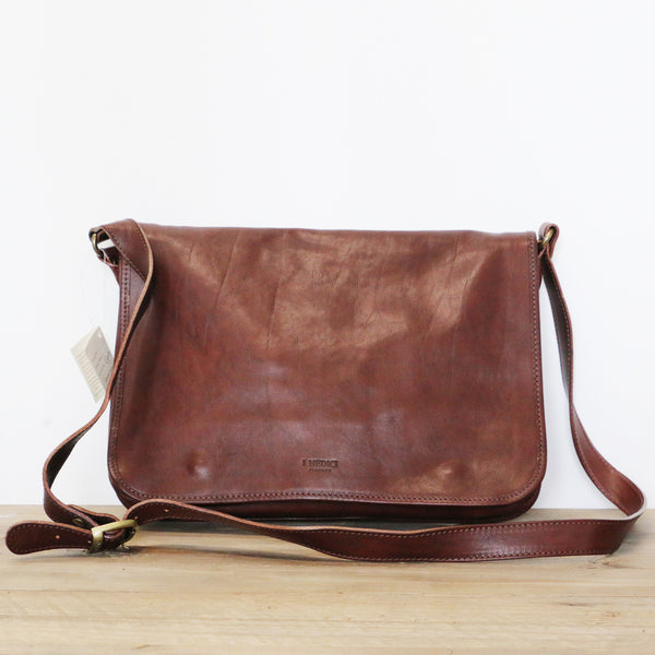 Leather Messenger Bag in Chocolate