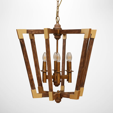 Amalfi Hanging Light in Wood with Brass Iron Details