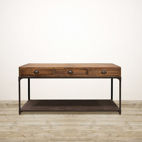 Industrial Recycled Pine Console With Metal Shelf
