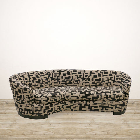 Ascot Couch in Black and Beige Checked Fabric