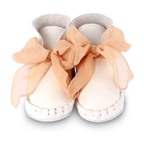 Donsje Pina Organza Off White Leather Boot with Apricot Bow