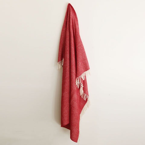 Wool Herringbone Throw in Red - DUE END OF MAY