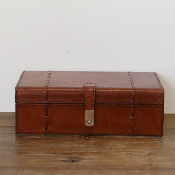 Tan Leather Box with Stitch Detail - Medium
