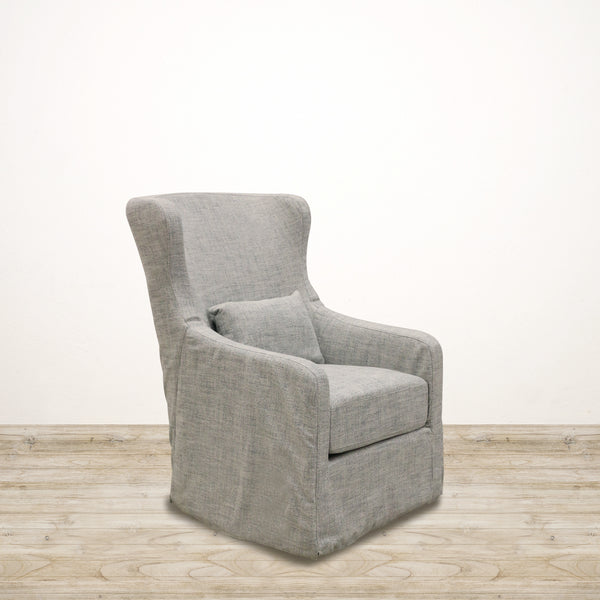 Cape Cod Chair in Blue/White Tweed with Swivel Base